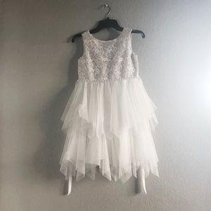 Girls White Formal Dress 6X